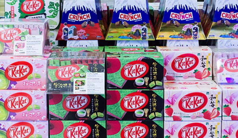 green tea matcha, sakura-matcha, and strawberry cheesecake Kit Kat