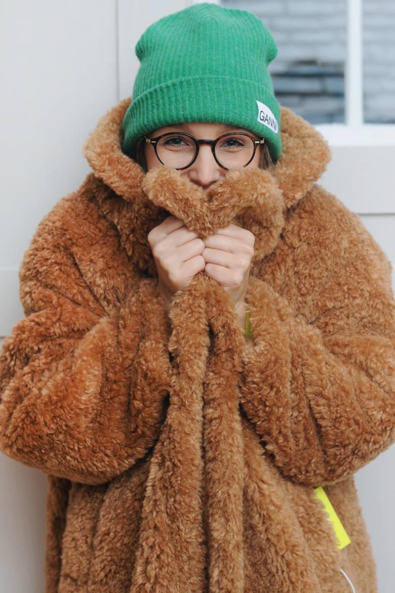 Harriett wearing OOF teddy coat