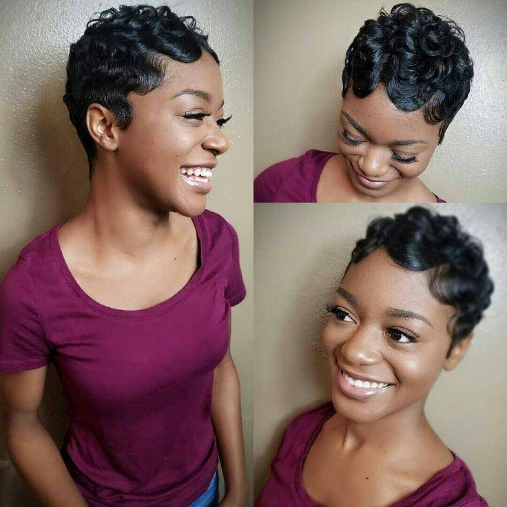 Natural Hair Finger Wave Pixie Hairstyle