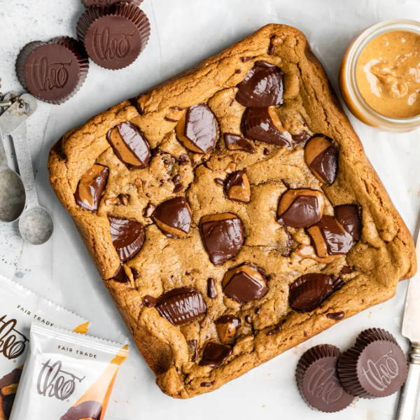 Peanut Butter Blondies with peanut butter and peanut butter cups