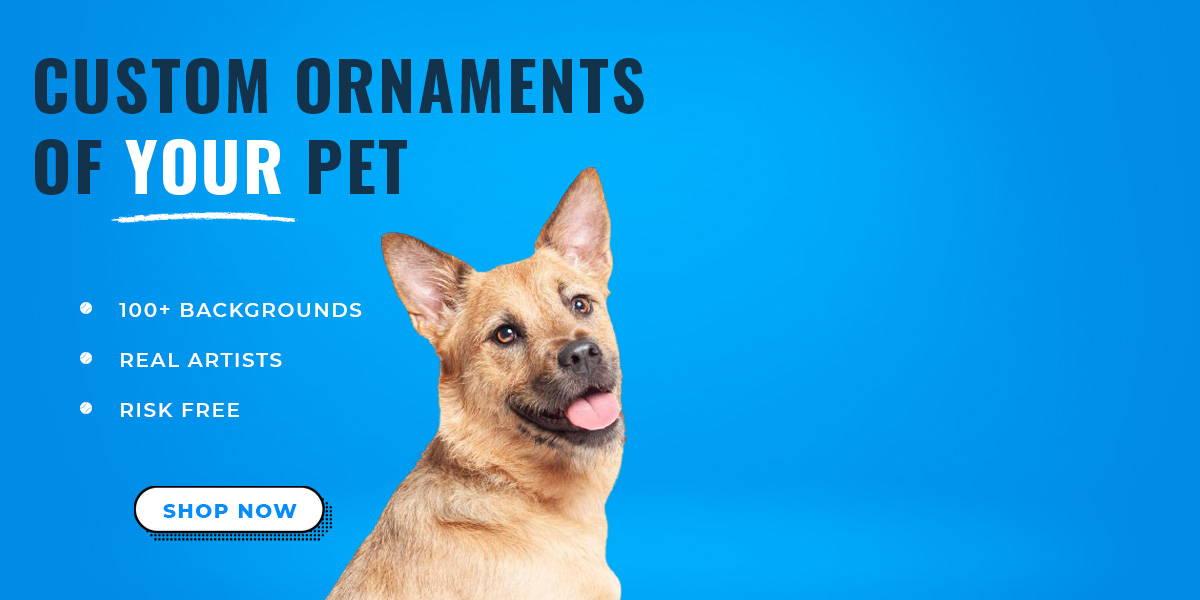 happy dog looking over shoulder - custom pet ornaments