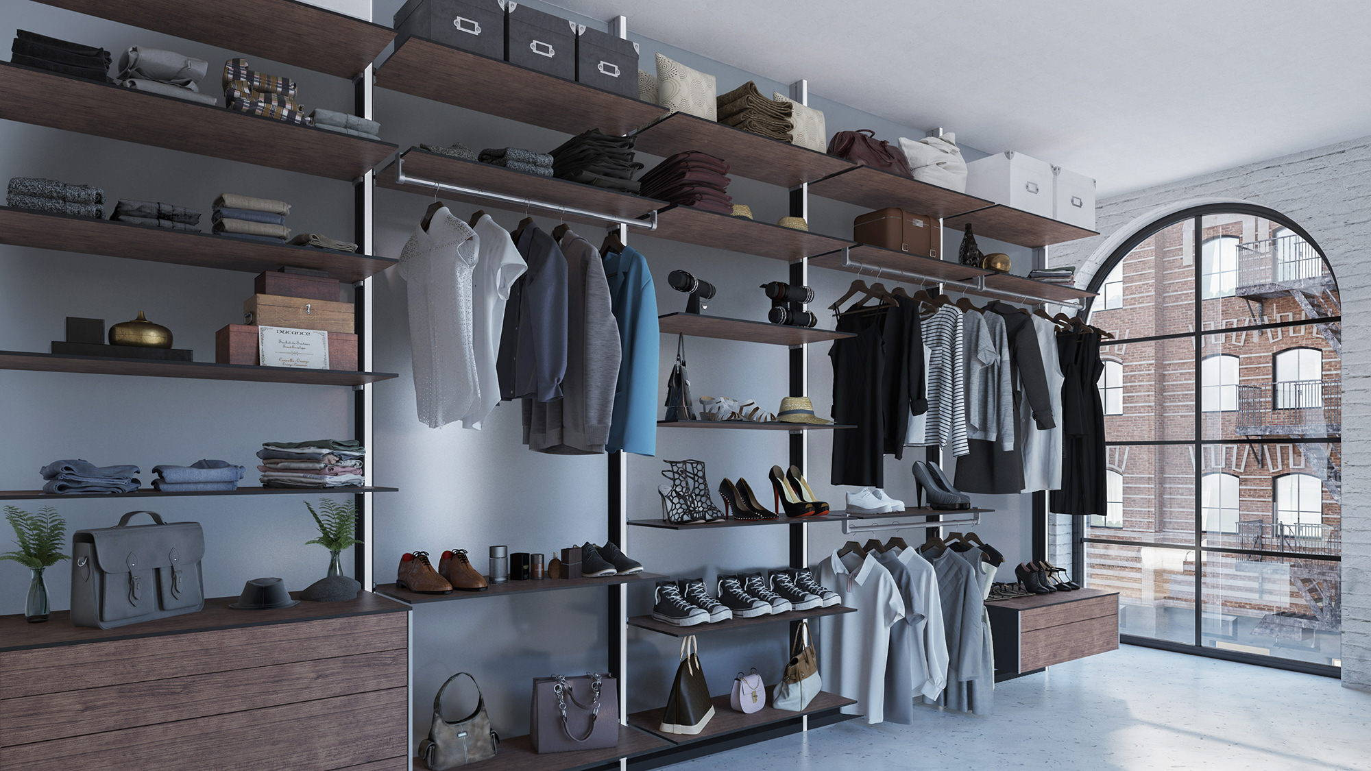 modern walk-in closet system