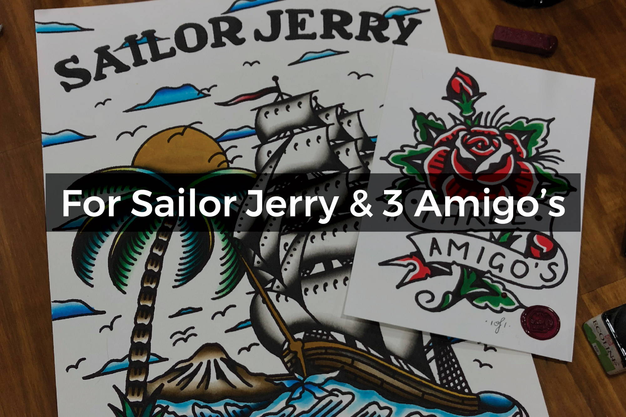 Watercolour for Sailor Jerry & Three Amigos Skate Shop by Steen Jones