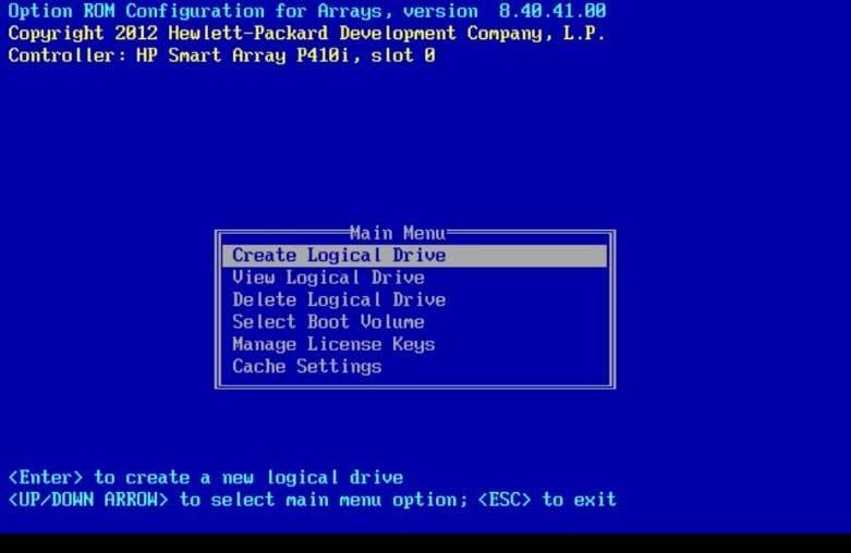 option ROM menu on the hp p410 raid controller