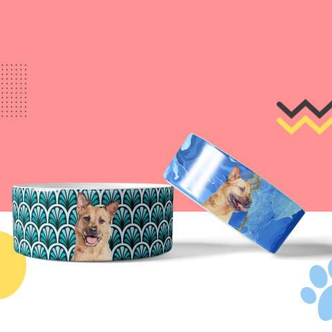 Custom pet portraits on pet bowls