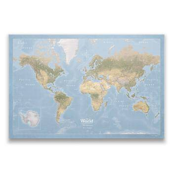 World Pin Map Cork Board w/Push Pins - Natural Earth