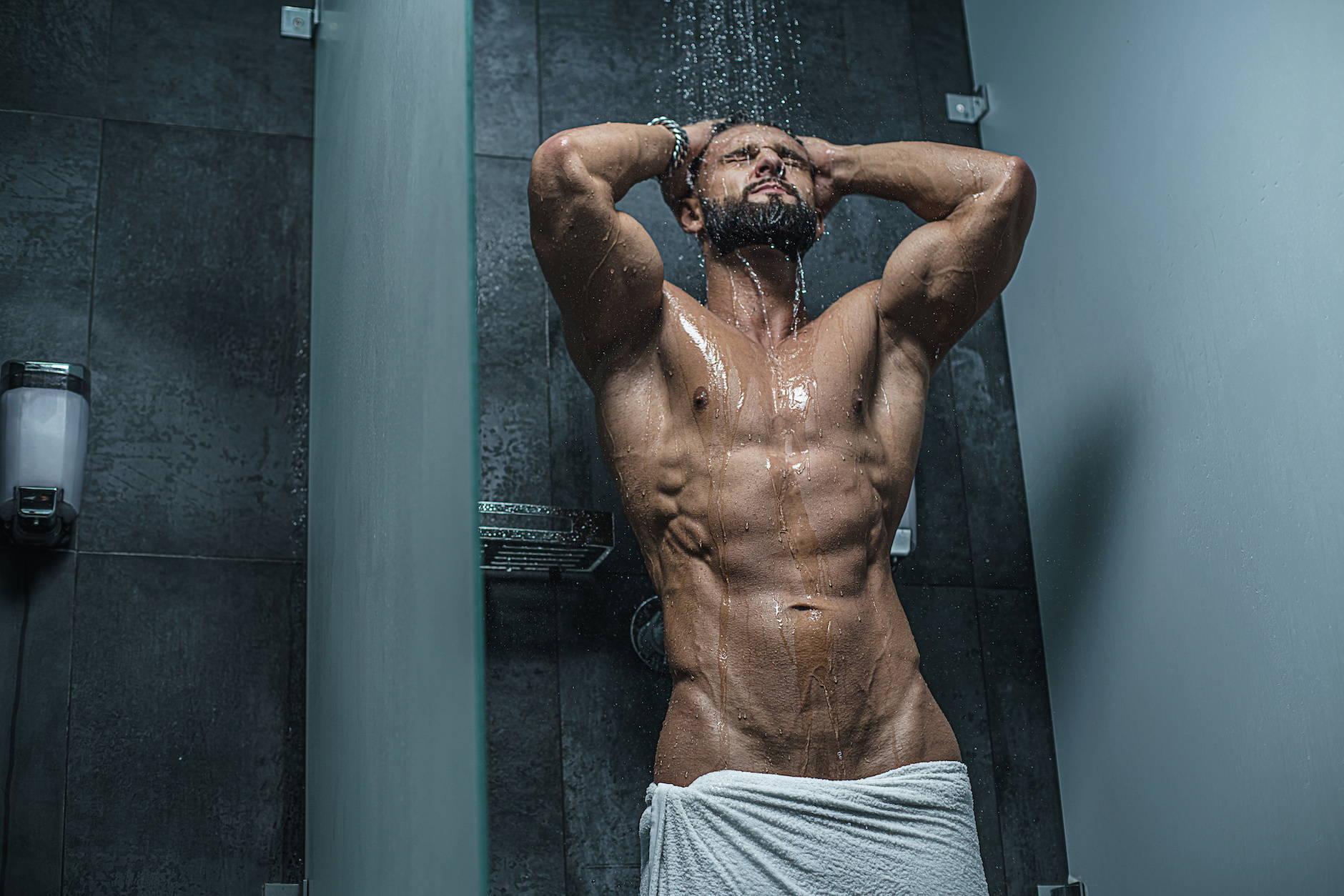 It's About The Man  | Shower Fun - Man in Shower - Hunk wet in Shower | wet model, naked male model, male model, male fitness model
