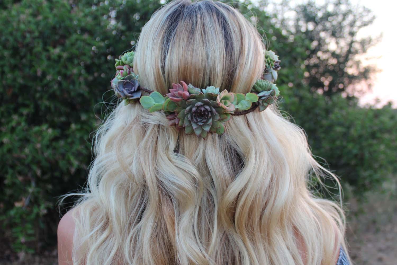succulent crown wedding bride flower girl bridesmaid