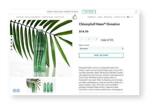 chlorophyll water donation platform on website