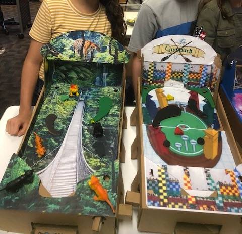 Two student designed PinBox 3000 from their STEM workshop.