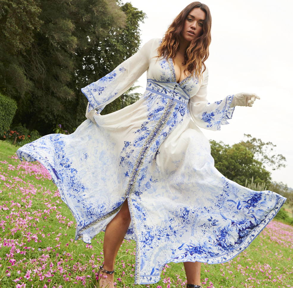 Laura Wells wearing CAMILLA High Tea Dress | CAMILLA white and blue floral dress