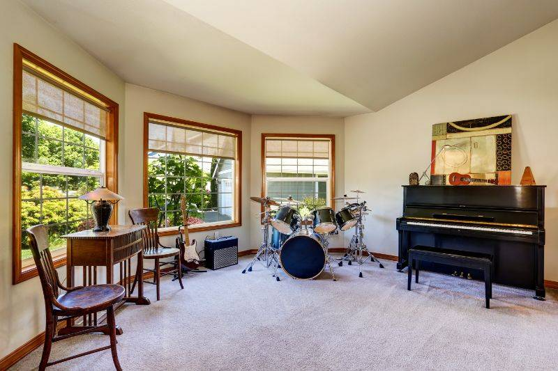 drum soundproofing in a carpeted room