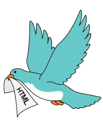 An illustration of a blue bird with a piece of paper that says HTML flying away