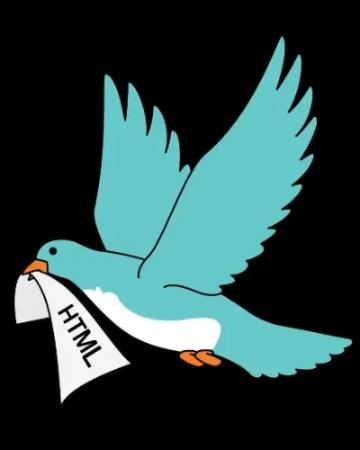 Illustration d'un oiseau bleu en vol tenant un morceau de papier sur lequel est écrit HTML