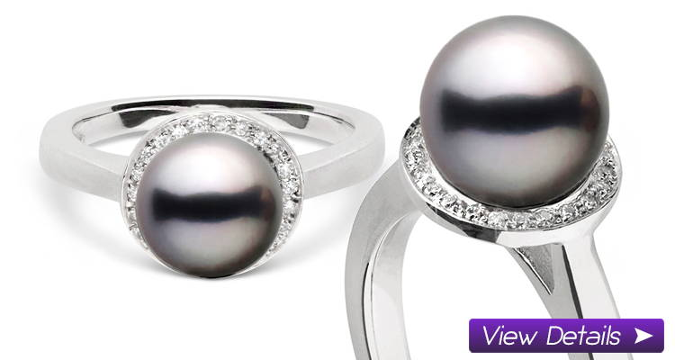 Diamond Halo Ring with Pearl