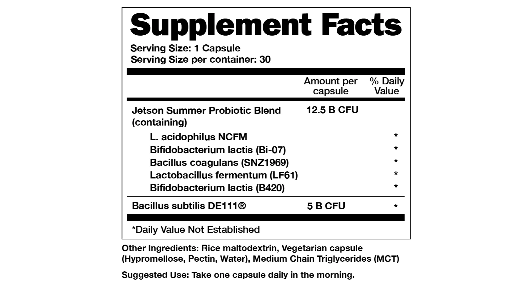 Supplements Facts of Fit Probiotic