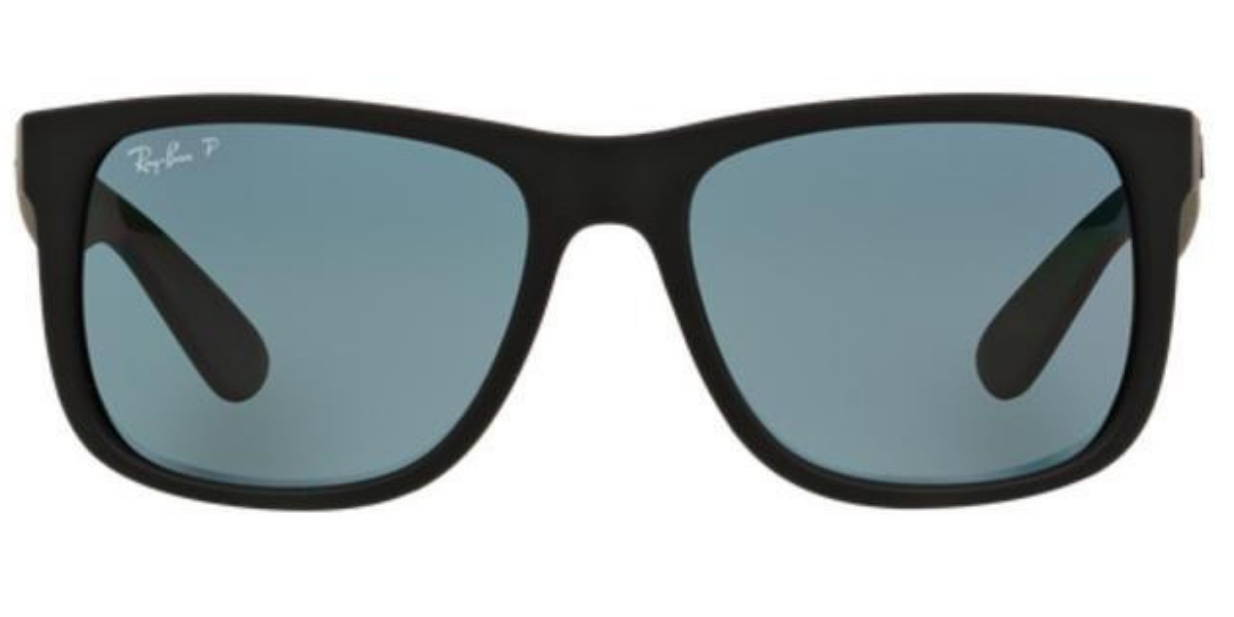 5816ce148bf Ray-Ban Black Rubber Justin Sunglasses Dark Blue Polarized Lens RB 416 –  shadesdaddy