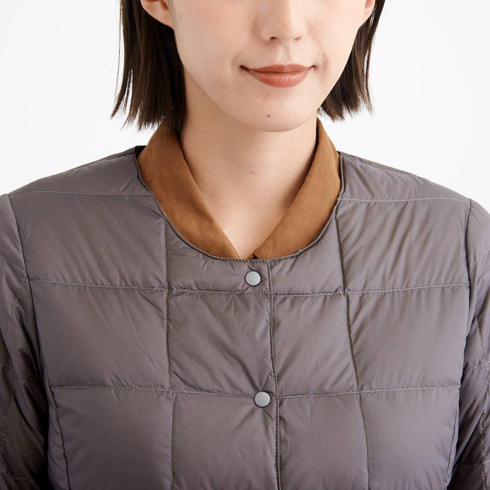 TAION(タイオン)/クルーネックボタンダウンジャケット/グレー/WOMENS