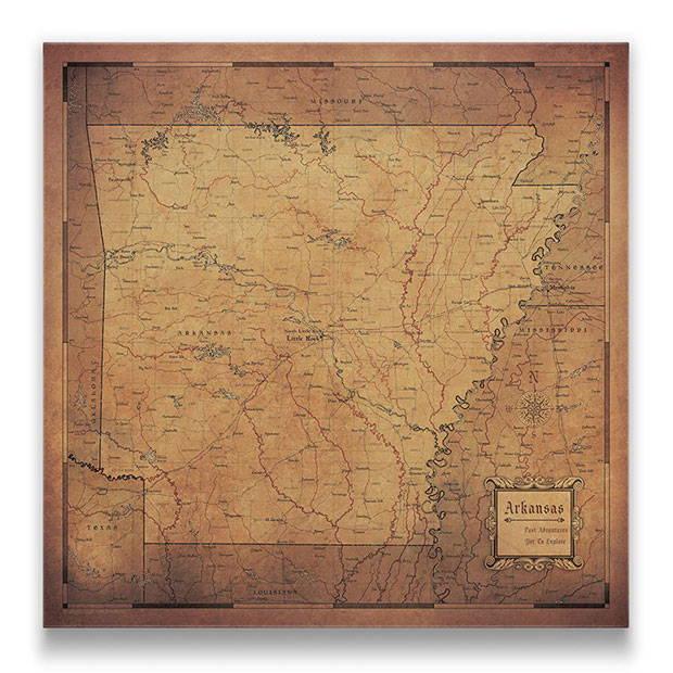 Arkansas Push pin travel map golden aged