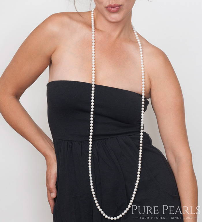 How to Wear a Pearl Rope Necklace, Long and Loose