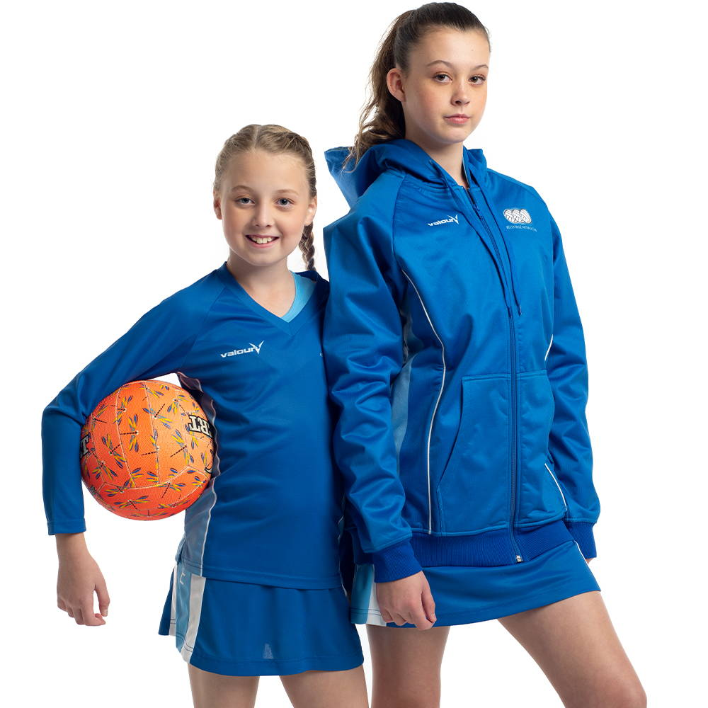 Custom off-field netball sportswear for netball teams and players by Valour Sport