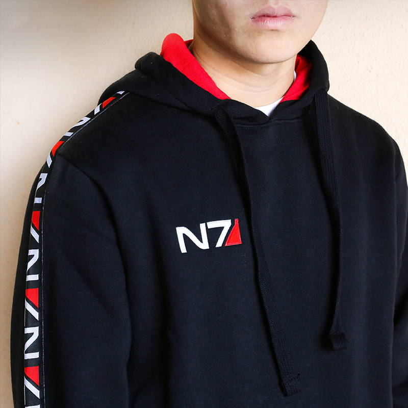 Model wearing a Mass Effect Space Champion Hoodie