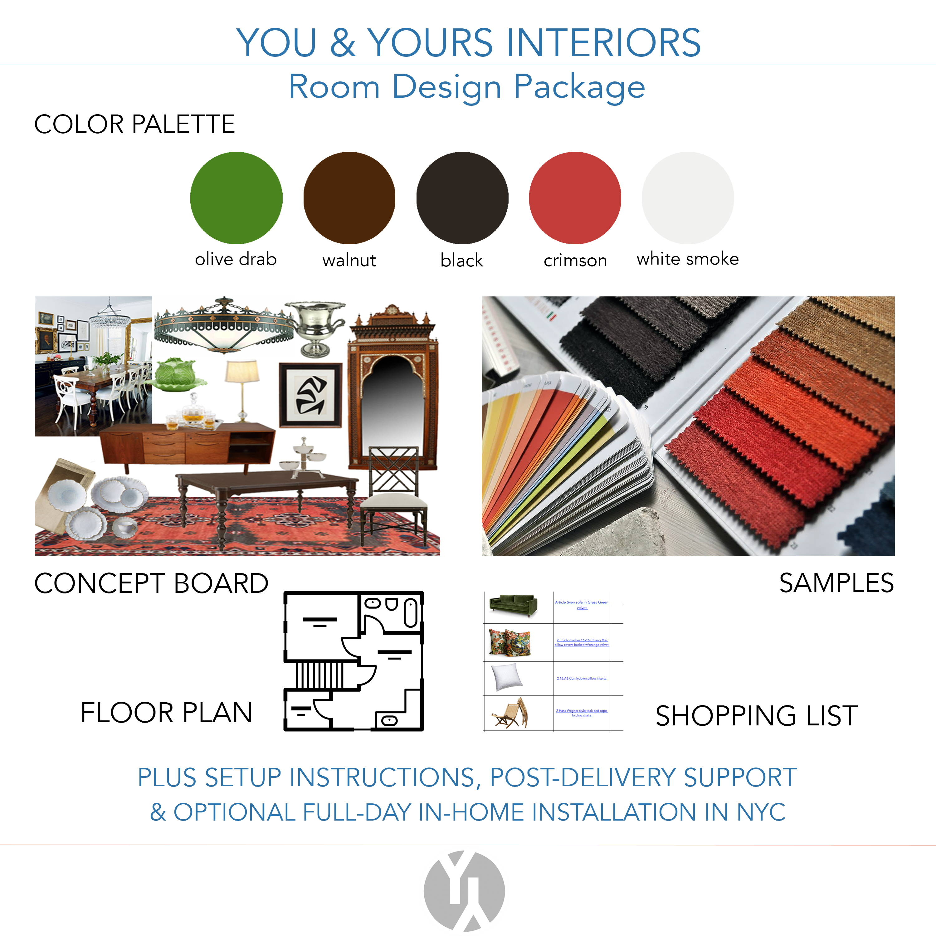 An interior design concept board featuring photos of samples, a floor plan, and a shopping list. A color palette includes green, red, and brown.