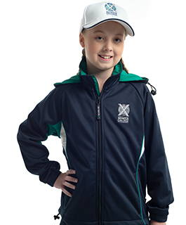 Softshell jacket with a removable hood is a modern addition to Seymour's core PE uniform.