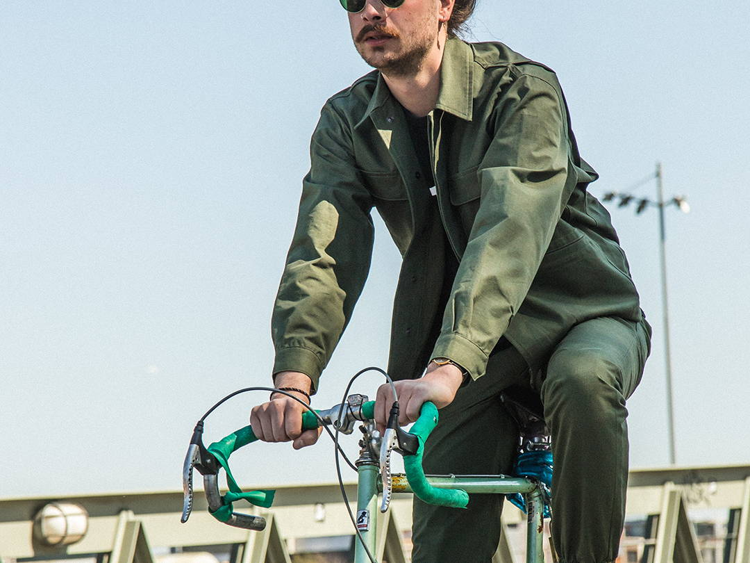 men's lightweight slim fit workwear cycling suit | BRJ-01 COMMUTER JACKET 8 oz. ripstop forest | made in japan | benzak