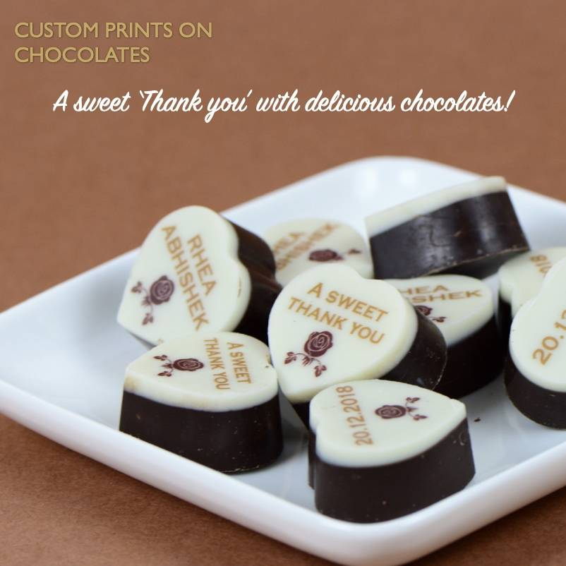 Printed chocolates for wedding favours