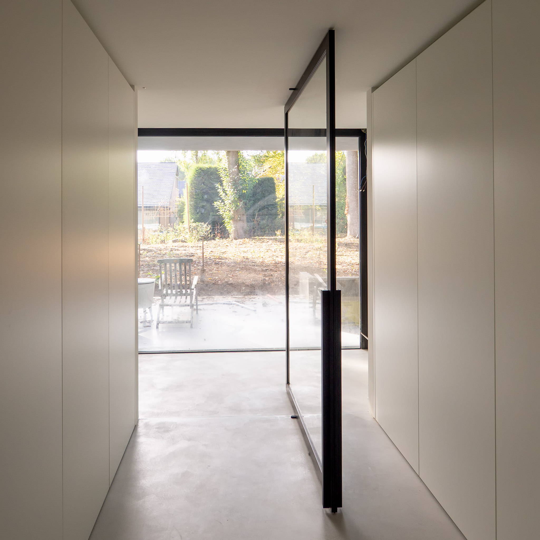 Crittall style glass pivoting door
