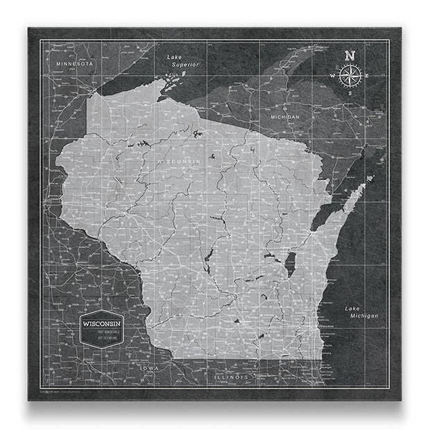 Wisconsin Push pin travel map modern slate