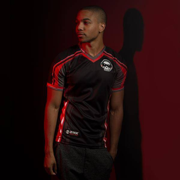 Black and red men's jersey.