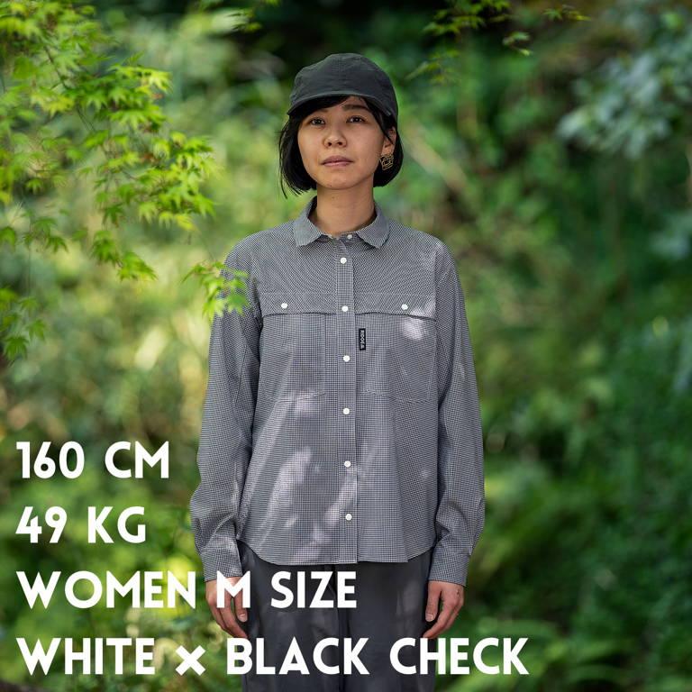 RIDGE MOUNTAIN GEAR(リッジマウンテンギア)/ビッグポケットロングスリーブシャツ/ホワイト×ブラック/WOMENS