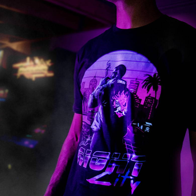 Male model wearing a Cyberpunk 2077 shirt