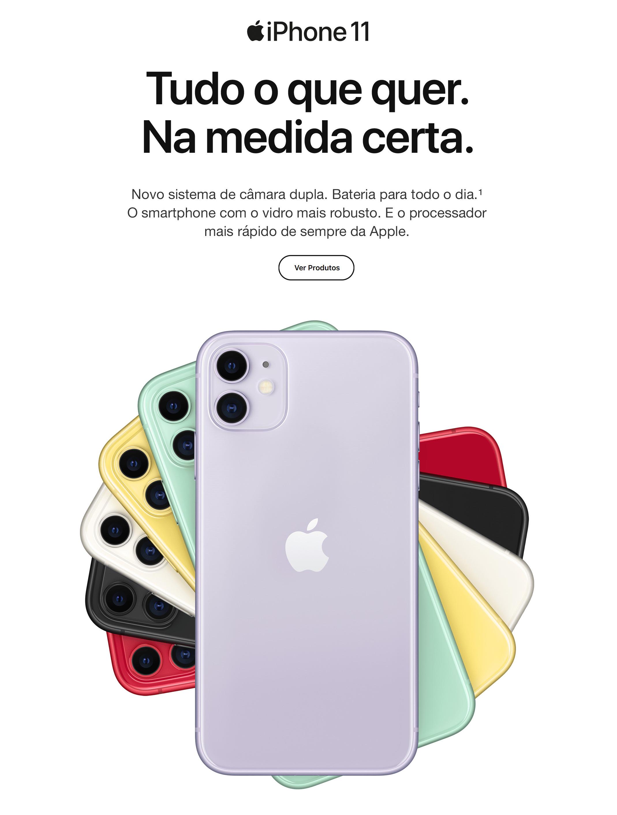 Novo iPhone 11. O smartphone com o vidro mais robusto.