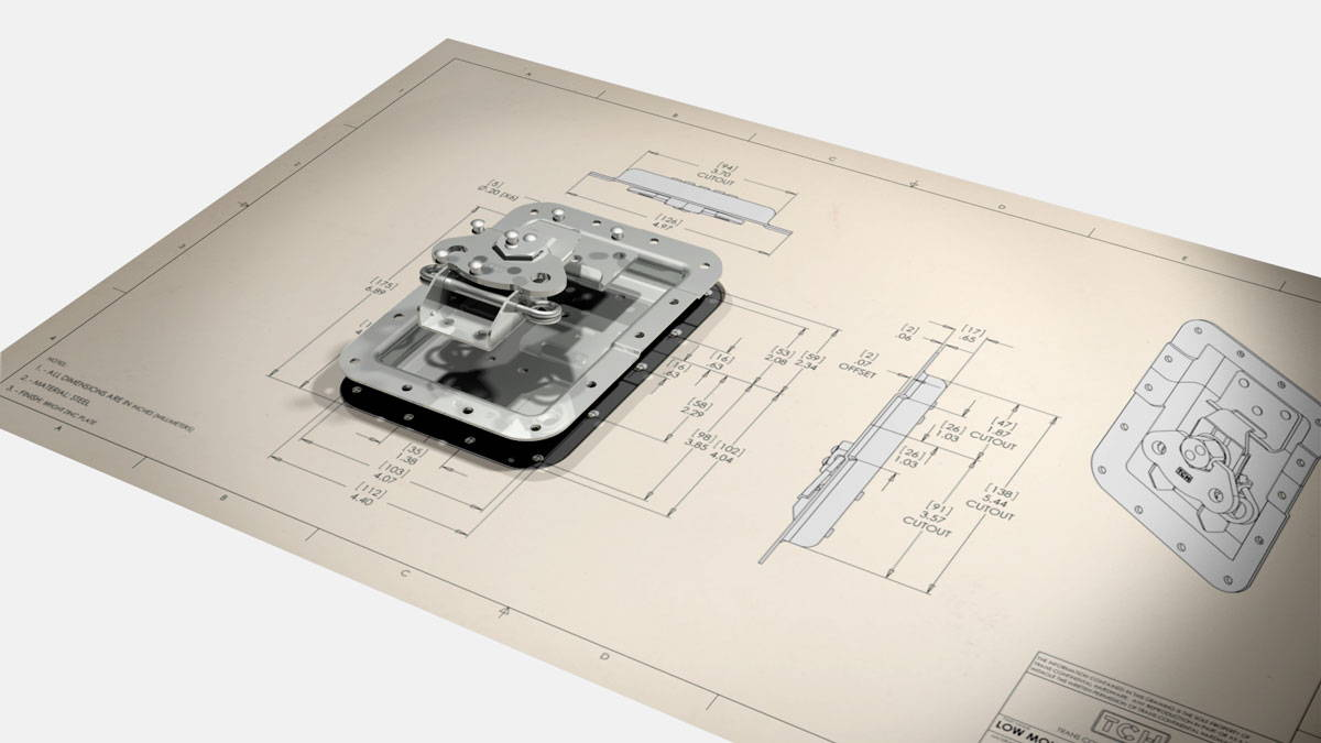 Recessed latch laying on top of data and specs sheet