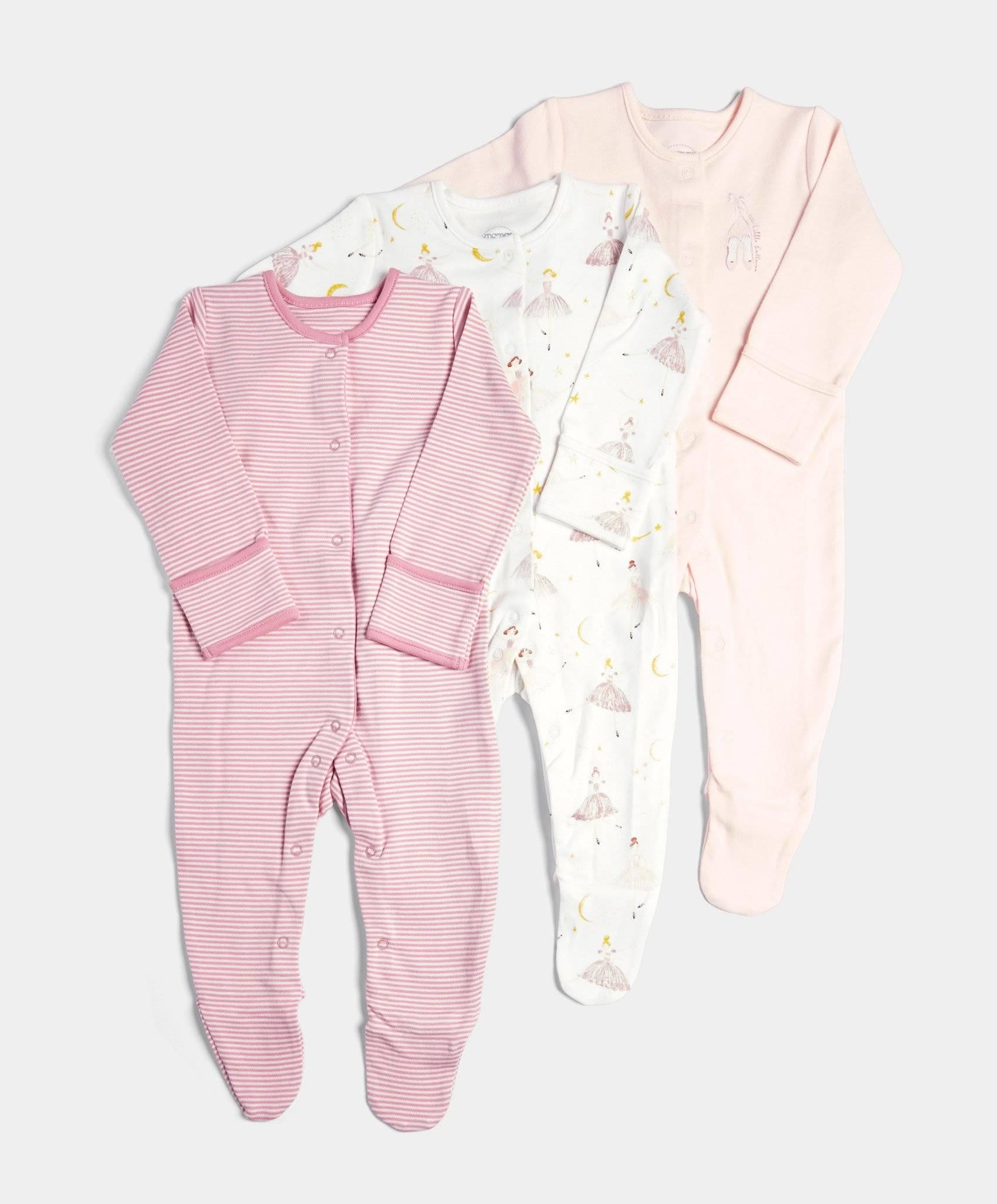 3 Pack Ballerina Sleepsuits