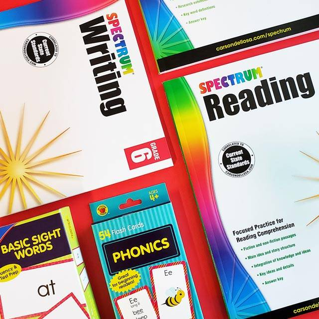 Reading and writing learn at home focused educational supplies
