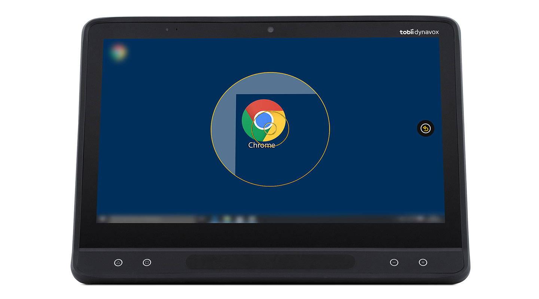 """Augengesteuerte Software """"Computer Control"""" von Tobii Dynavox auf einem I-Serie-Gerät mit unterstützender Technologie"""