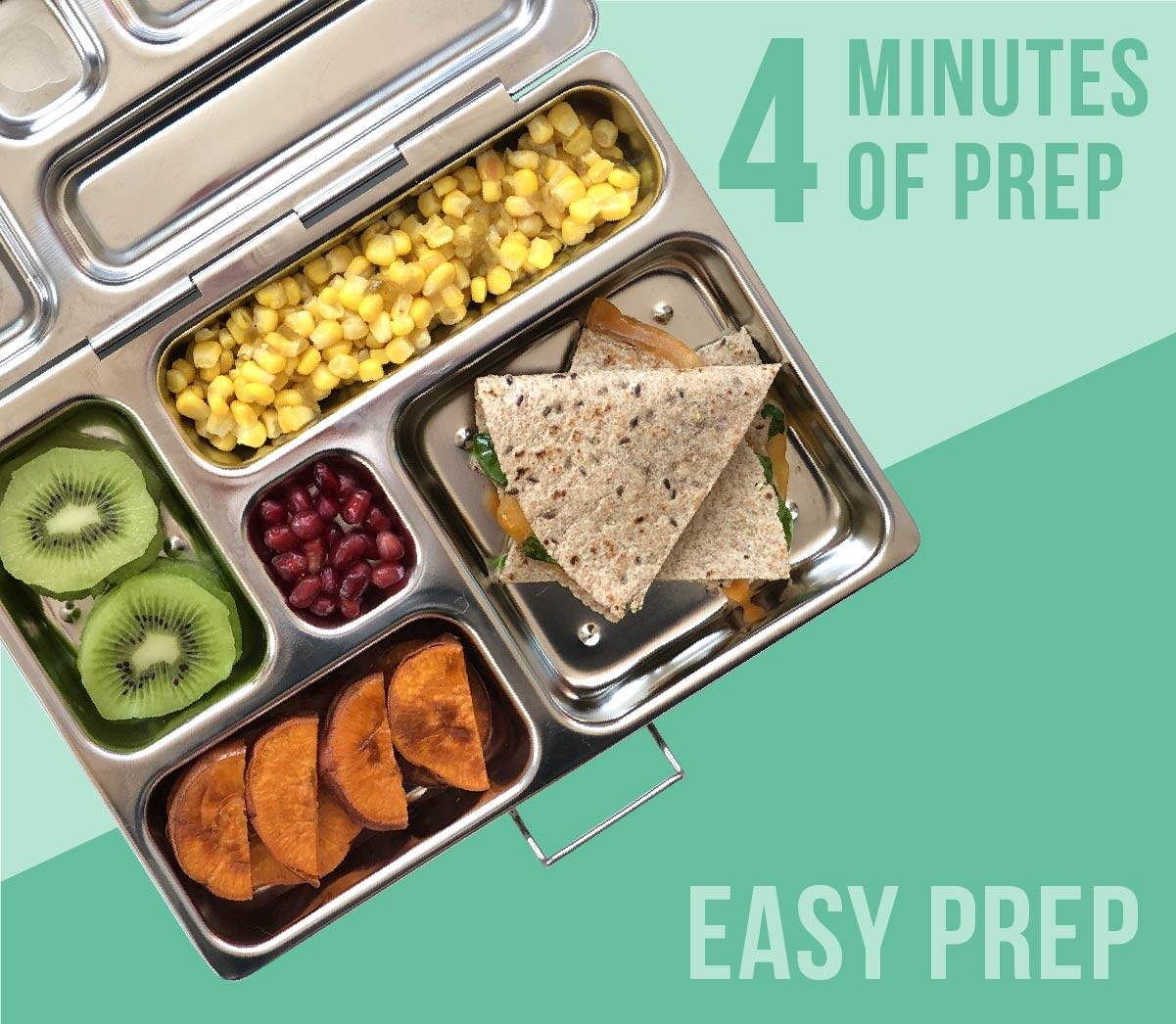 Kids lunch box filled with a spinach cheese quesadilla, roasted sweet potato, kiwi slices, corn, and pomegranate seeds.