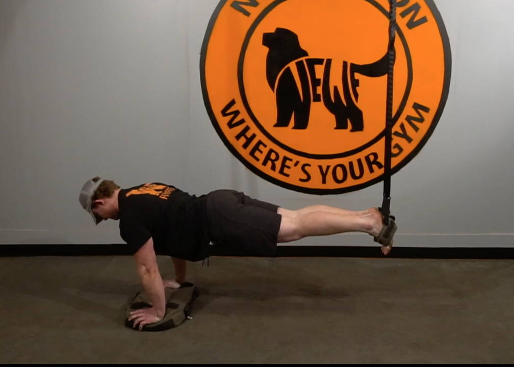 NEWF Bag feet elevated strap push ups exercise