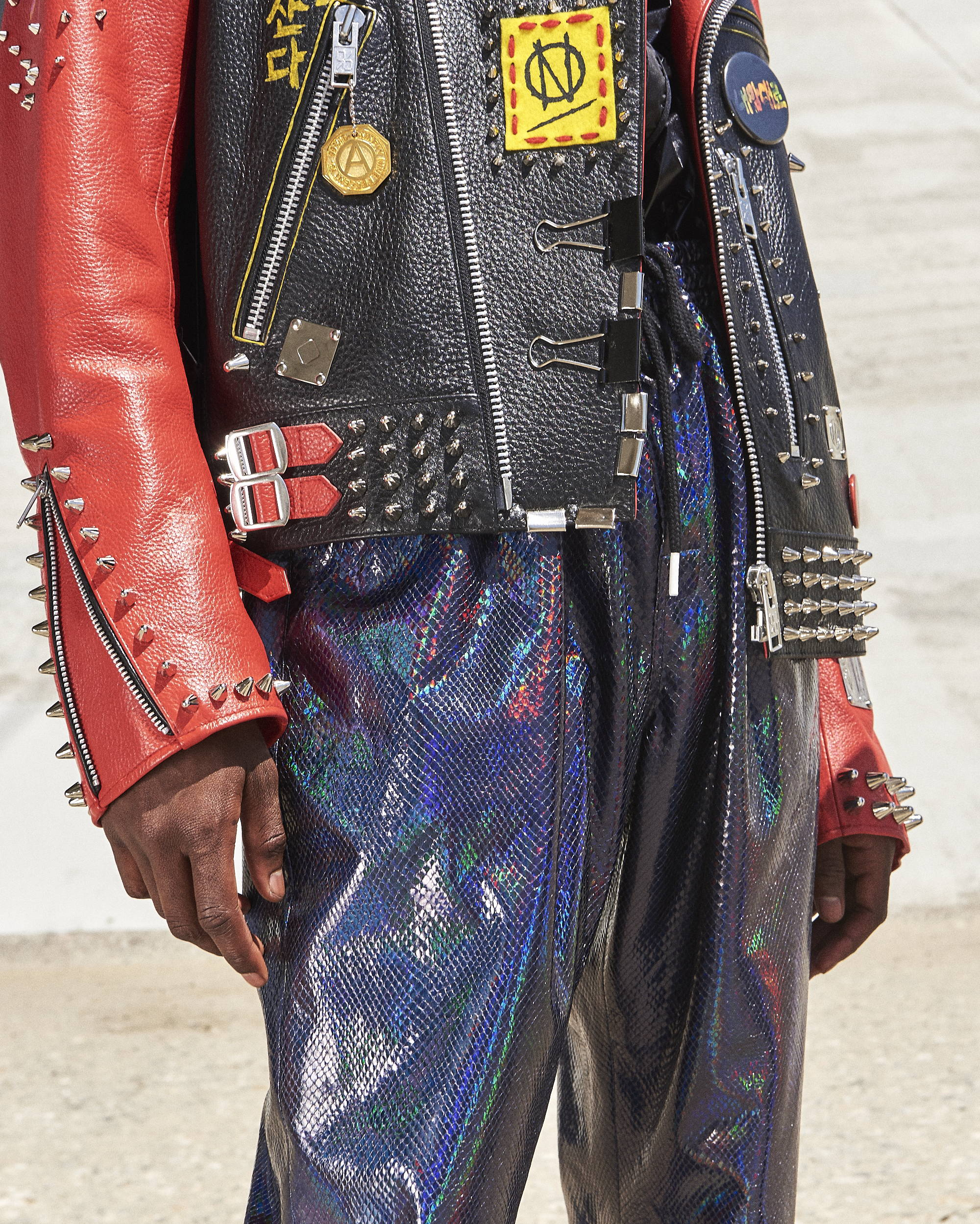 99%IS Studded Leather Jacket Detail HLNR Hlorenzo