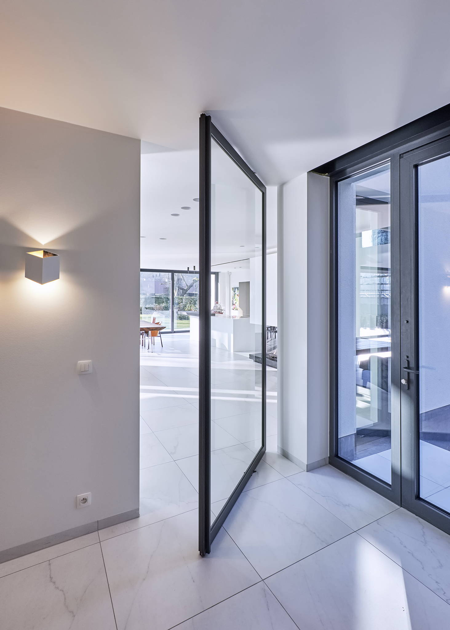 Glass and aluminium pivot door