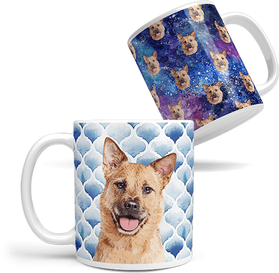 custom dog art coffee mug on space background