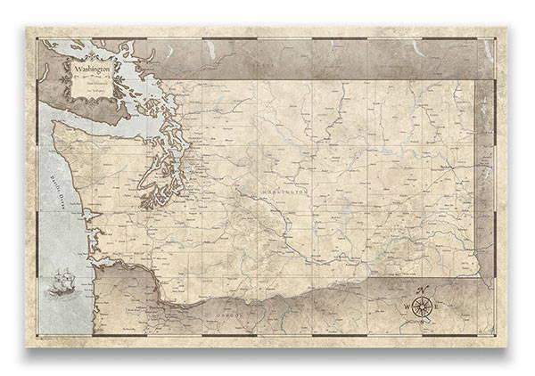Washington Push pin travel map rustic vintage