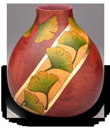 Ginkgo Gourd Pot with Metal Leaf