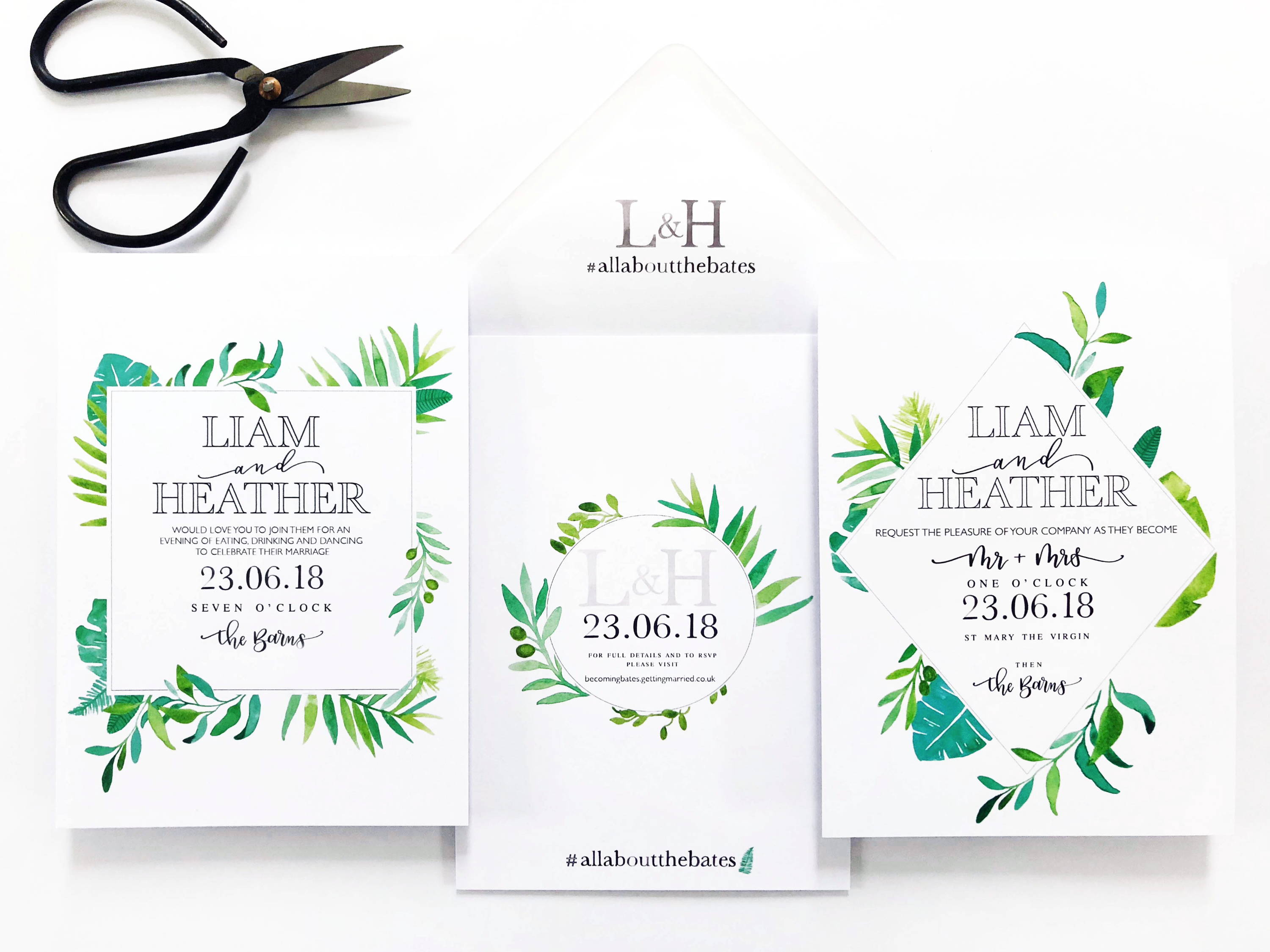 green botanical watercolour's geometric wedding invite