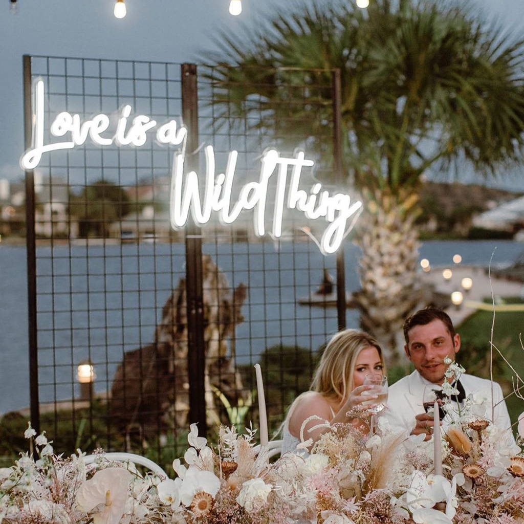 Brite Lite wedding neon sign love is a wild thing neon sign