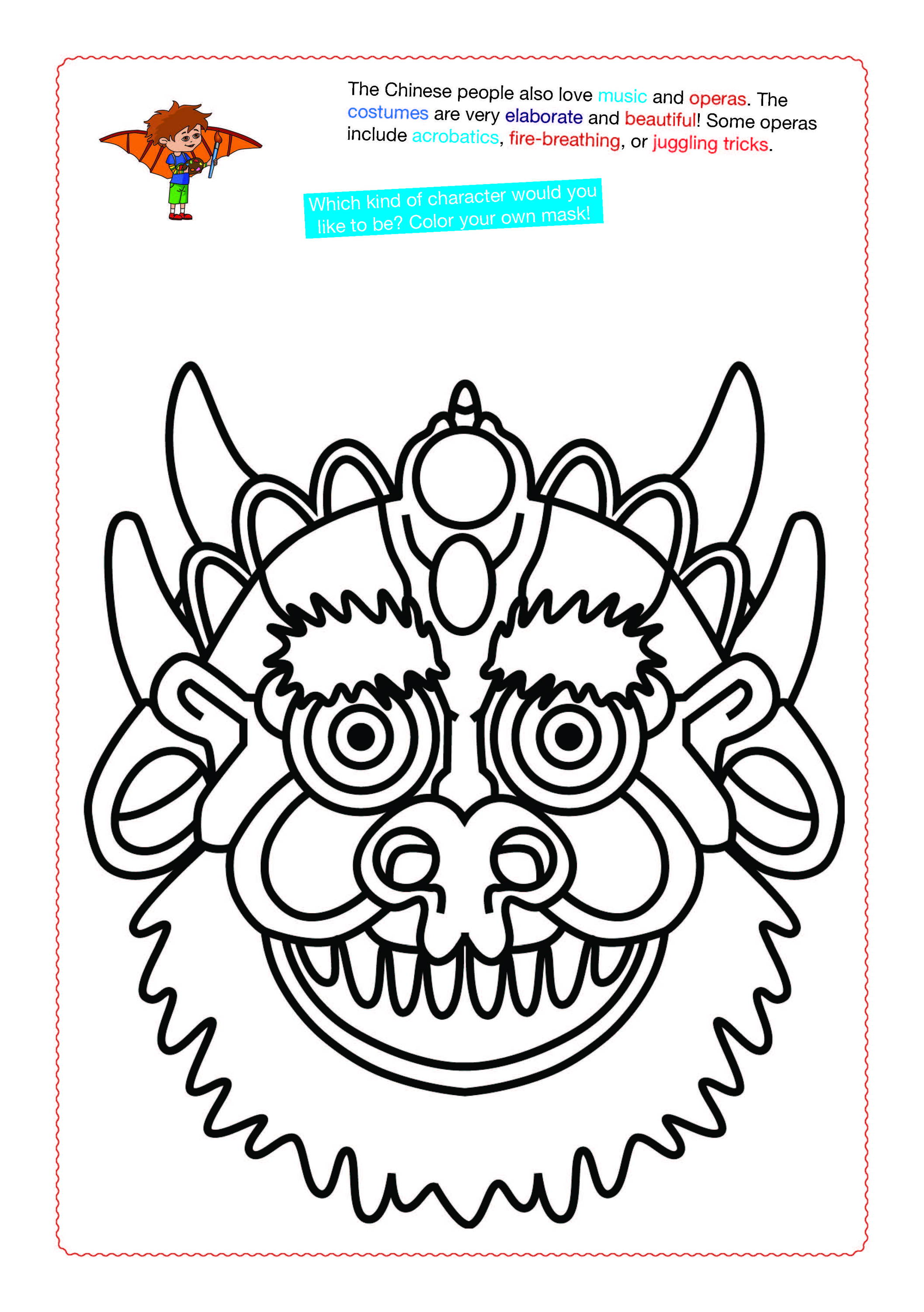 Chinese Mask Coloring page